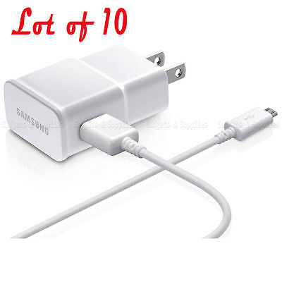 Lot of 10 Genuine Samsung OEM Galaxy Note 2 S3 S4 2.0A Original Travel Charger