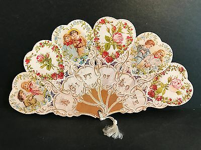 "Vintage Folding Fan ""A GIFT OF LOVE"" printed paper Victorian over 78 years old."