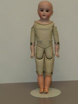 "13.5"" German Doll w/Bisque Shoulder Head & Arms, Oil Cloth Body, Compo Legs"