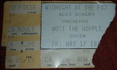 Queen + Mott The Hoople Ticket Stub (Midnight At The Fox - May 17th, 1974) RARE!