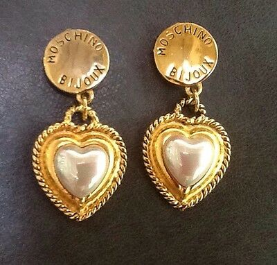 Moschino Bijoux Vintage Gold Plated Round Top Heart Faux Pearl ClipOn Earrings