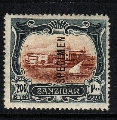 Zanzibar-1908-09-Sg243 - 200r brown/black Specimen Overprint-lightly mtd mint
