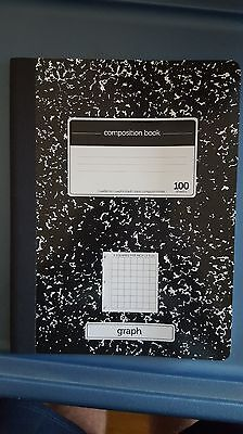 GRAPH PAPER Ruled Composition Notebook 4 Squares per Inch BLACK COVER