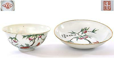 Early 20C Chinese Famille Rose Porcelain Bowl & Dish Plate Peach Tree Mk