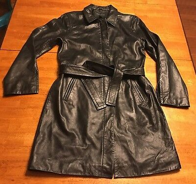 Women's Express Genuine Leather Coat Long Size 9/10 Large? GUC Black Zip Up