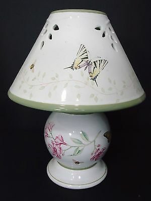 Lenox Candle Lamp with a Butterfly Meadow Pattern - Ceramic Candle Lamp