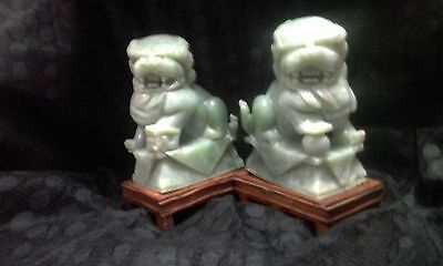 Vintage Hand Carved JADE FOO DOGS LIONS Shishi Temple Large