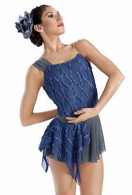 Dance Costume Large Child Weissmans Blue Gray LEOTARD ONLY Solo Competition