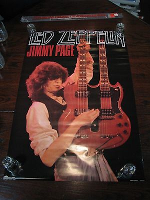 "Led Zeppelin Poster – Jimmy Page w/ double neck Gibson -  New - 36""x24"" - 1986"