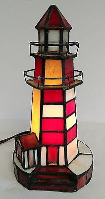 Vtg Tiffany Style Nautical Stained Glass Lighthouse Red & White Night Light Lamp
