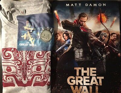 The Great Wall Official Movie Promo tee XL + Key Chain, Screen Cloth and Poster