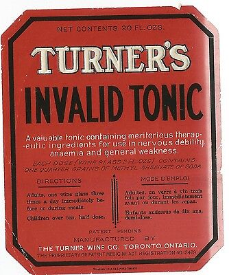 Antique Quack Patent Medicine Bottle label Turner's Invalid Tonic