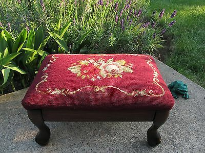 Vintage Needlepoint Floral Red Footstool Hardwood Restored