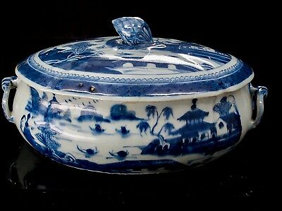 Antique 18th Century Chinese Export Blue Canton Covered Vegetable Bowl Tureen