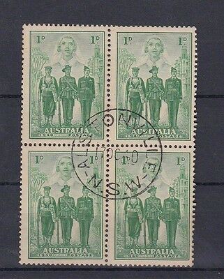 Australia 1d Australian Imperial Forces AIF Used Block of 4 Rust/Toned Hinged