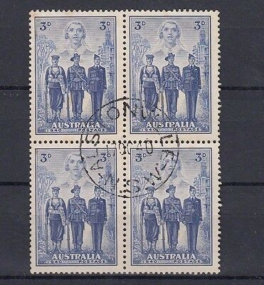 Australia 3d Australian Imperial Forces AIF Used Block of 4 Rust/Toned Hinged