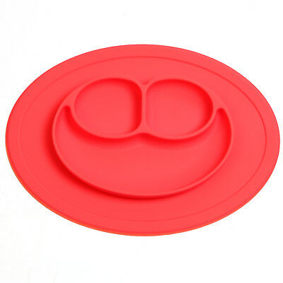 Baby Kid Silicone Mat Placemat Plate Food Tray Bowl Happy Dish Suction Plate