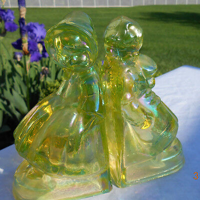 Vintage Wheaton Victorian Boy and Girl Iridescent Bookends - Yellow
