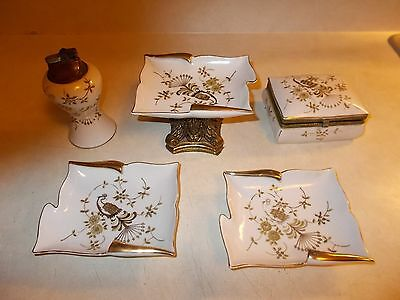 1940'/50's 5pc Porcelain Lighter / Match Holder and Ashtray Set w/ Peacock ESSAY