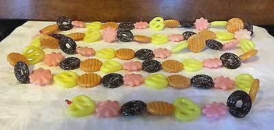 Vintage Plastic Blow Mold Christmas Cookie Garland Sugared Glitter 9ft
