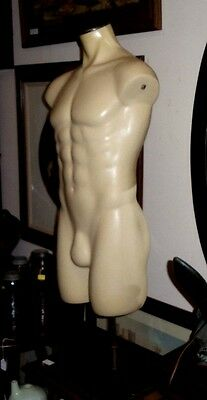 MALE MANNEQUIN w/STAND - FULL TORSO - LARGE FIBERGLASS BODY w/ADJUSTABLE HEIGHT