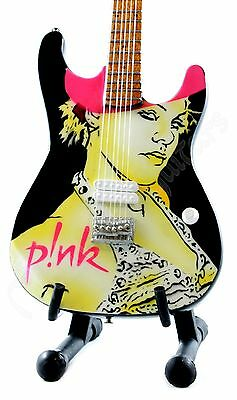 Miniature Guitar PINK with stand. Alecia Moore P!NK