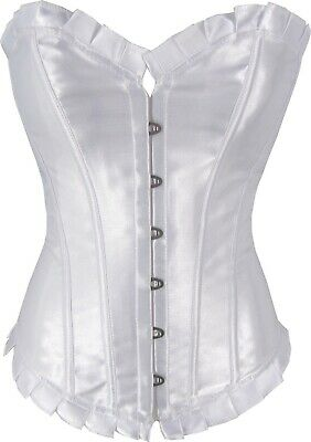 Premium White Corset Satin Style Shaper With Pleated Trim In Sizes 6 to 26