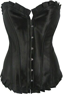 Premium Black Corset Satin Style Shaper With Pleated Trim In Sizes 6 to 26