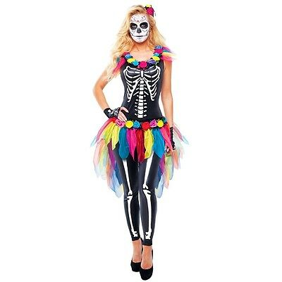 Day of the Dead Sugar Skeleton Adult Womens Costume, 87021, Goddessey