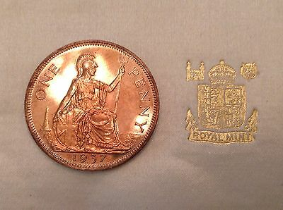 - 1937 Great Britain George VI One Penny  - Proof Only 26,000 Minted