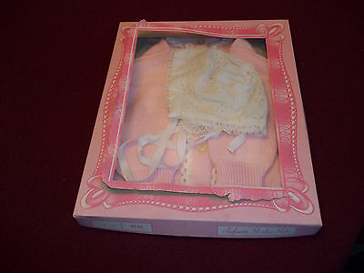 Vintage, Baby Sweater & Bonnet Set, New,Pink & White