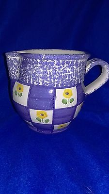 Blue and White Checkered Pitcher with flowers - Made In Portugal