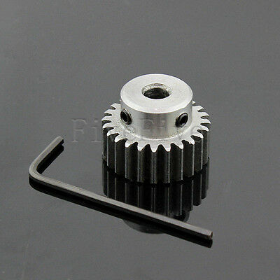 1M24T 5/6/6.35/7mm Bore Hole Width 10 Module 1 Motor Metal Spur Gear + Screws