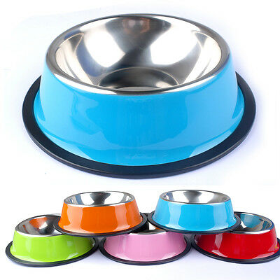 Stainless Steel Dog Bowl Pet Cat Food Water Feeder Dishes Bowls Anti Slip XS-XXL