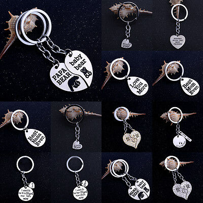 Family Keyring Keychain Heart Key Chain Jewelry Mom Sister Nana Dad Grandma Papa