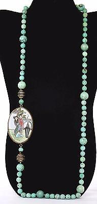 Chinese Turquoise Carved Bead Silver Famille Rose Porcelain Plaque Necklace