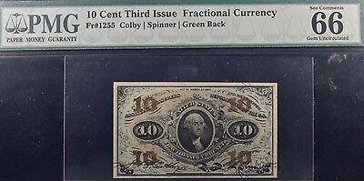 Fr.1255 10 Cent Third Issue Fractional Currency PMG 66EPQ