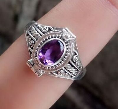 925 Solid Silver Traditional Poison Locket Ring With Amethyst Stone Size 9-IL69