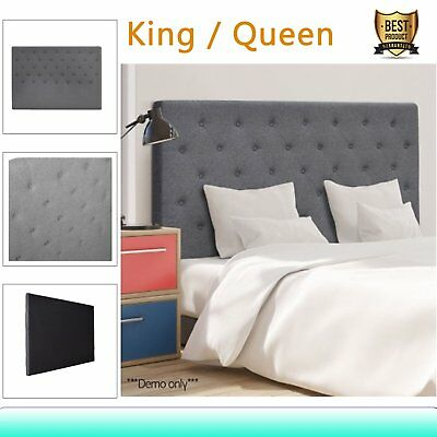 Bed Head Upholstered Fabric Bedhead Headboard for Base/Frame King Queen Size