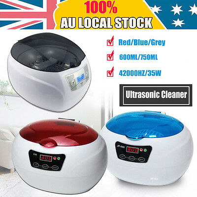 Ultrasonic Sonic Wave Cleaner Jewelry Glasses Watch Cleaning Bath Red Blue Grey