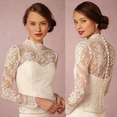 High Neck Custom Bridal Wraps Long Sleeve Wedding Top Lace Jackets Bolero
