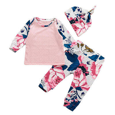 UK 3PCS Toddler Kids Baby Girls Summer Clothes T-shirt Tops+Pants Outfits Set