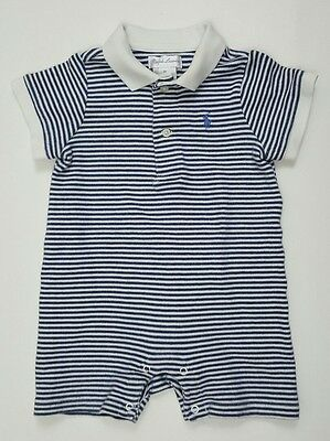 Baby boys Ralph Lauren one piece polo outfit 9 months romper striped blue