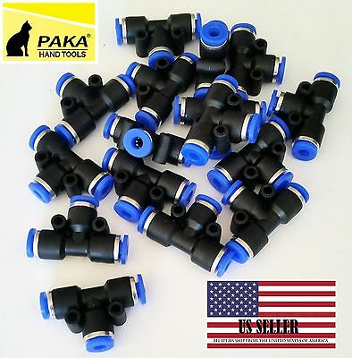 "10X Pneumatic Tee Union Connector Tube OD 1/4"" 6mm One Touch Push In Air Fitting"