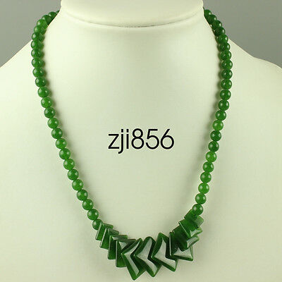 """Chinese Fashion 100% Natural Green Jade Jewelry Beads Necklace 17"""""""