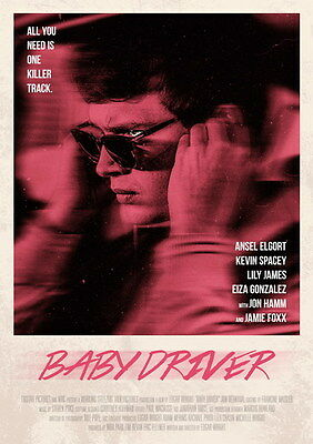 "018 Baby Driver - Ansel Elgort Car Crime Actioon UK Movie 24""x33"" Poster"