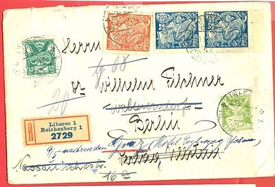 Czechoslovakia CSR 5 stamp used on Registered cover to Germany 1924
