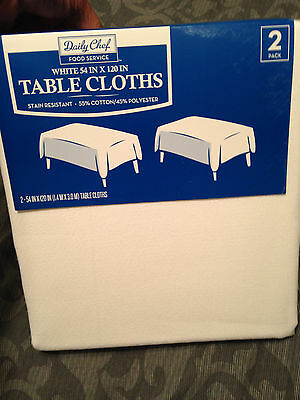 Daily Chef 54in x 120in Tablecloths White 2 Pk