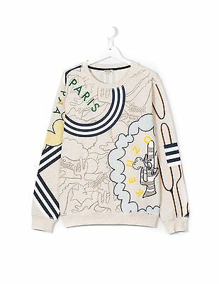 Kenzo Kids Paris Beige Printed Sweat Shirt Ss17 Collection $121 In Store Sz 14