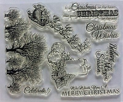 NEW Clear cling stamps for Card making & stamping Unbranded MERRY CHRISTMAS